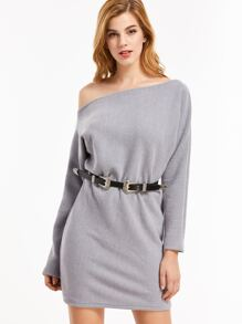 Grey One Shoulder Ribbed Dress