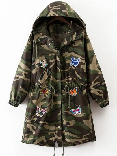 Army Green Butterfly Embroidery Drawstring Camouflage Hooded Coat