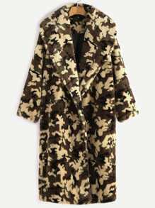 Olive Green Shawl Collar Camo Fleece Coat