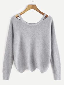 Grey Cut Out Neck Seam Wave Hem Sweater