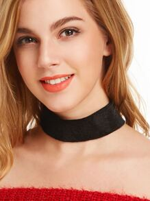 Black Fluffy Faux Fur Wide Choker Necklace