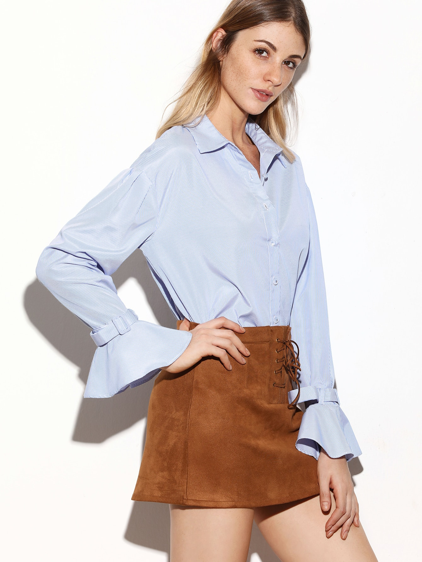Blue Vertical Striped Belted Ruffle Cuff BlouseBlue Vertical Striped Belted Ruffle Cuff Blouse<br><br>color: Blue<br>size: L,M,S,XS