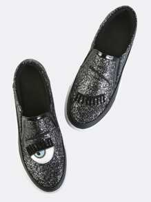 Fresh Eyes Glitter Slip On Sneakers BLACK