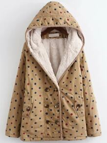 Khaki Polka Dot Hooded Coat With Faux Shearling Linging