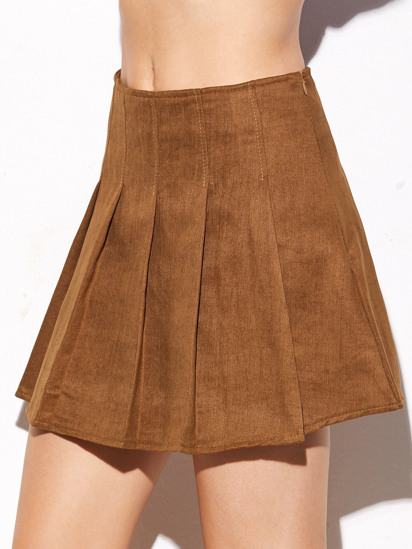 Camel Suede Pleated Zipper SkirtCamel Suede Pleated Zipper Skirt<br><br>color: Camel<br>size: M,S