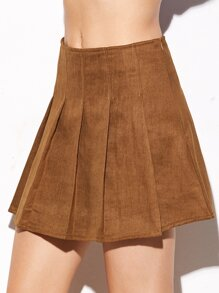 Camel Suede Pleated Zipper Skirt