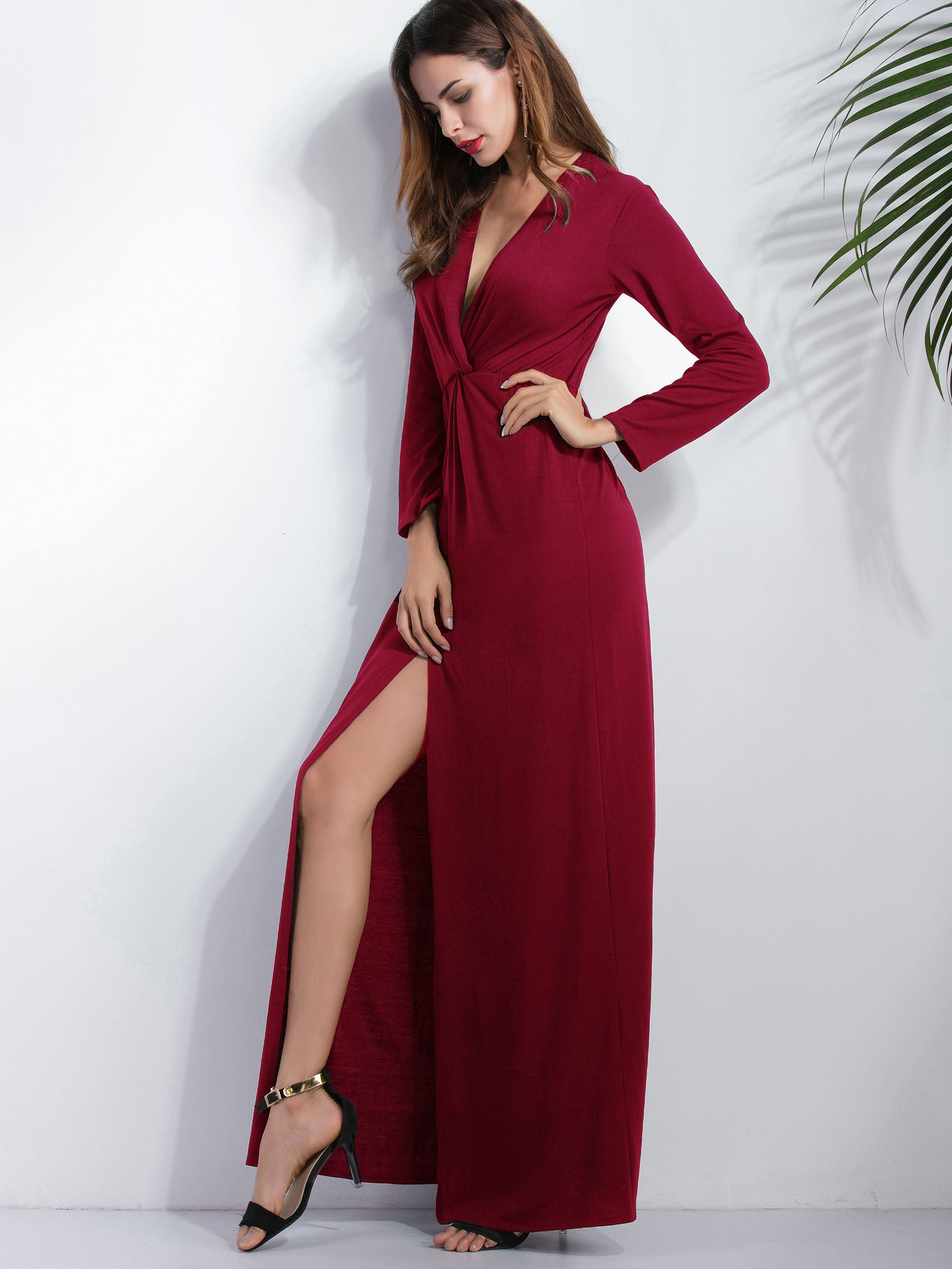 Burgundy Deep V Neck Slit Front Maxi Dress
