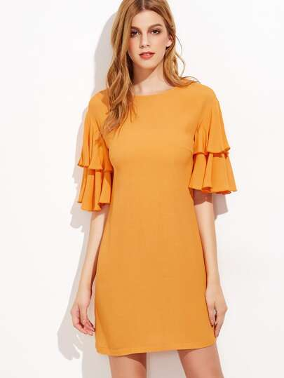Yellow Keyhole Tie Back Layered Flutter Sleeve Dress