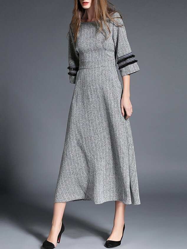 Grey Crew Neck Pockets Long Dress dress161121620