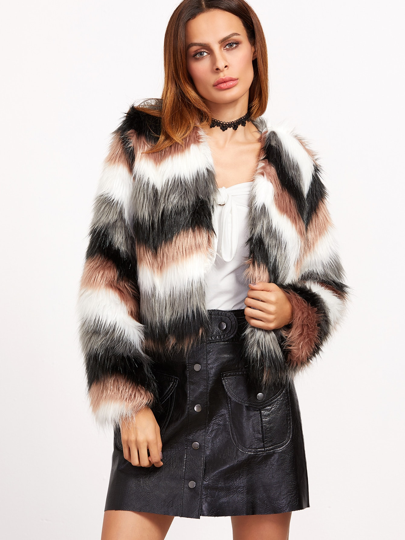 Coats White Black Grey Pink Faux Fur Collarless Elegant Crop Winter Color Block Fabric has no stretch Long Sleeve Outerwear.