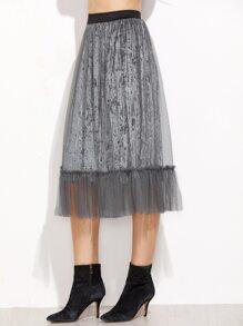 Mesh Overlay Pleated Velvet Skirt