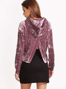 Purple Drop Shoulder Split Back Velvet Hoodie