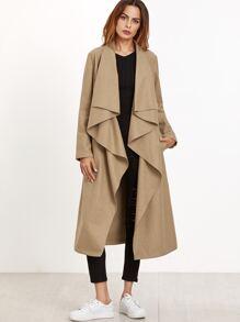 Khaki Waterfall Collar Belted Coat