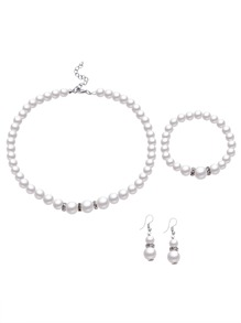 White Faux Pearl Beaded Jewelry Set