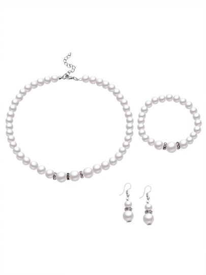 Ensemble de bijoux en faux perles -blanc