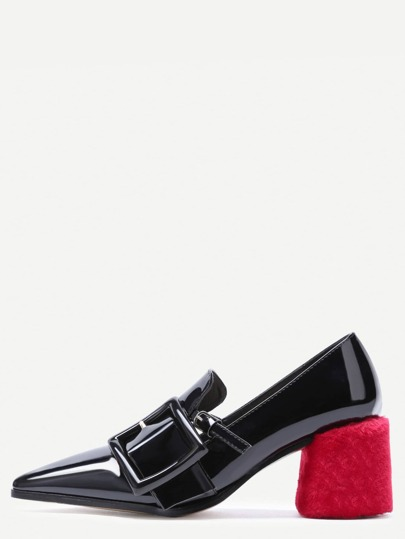 Black Patent Leather Pointed Buckle Pumps With Velvet Covered Heel