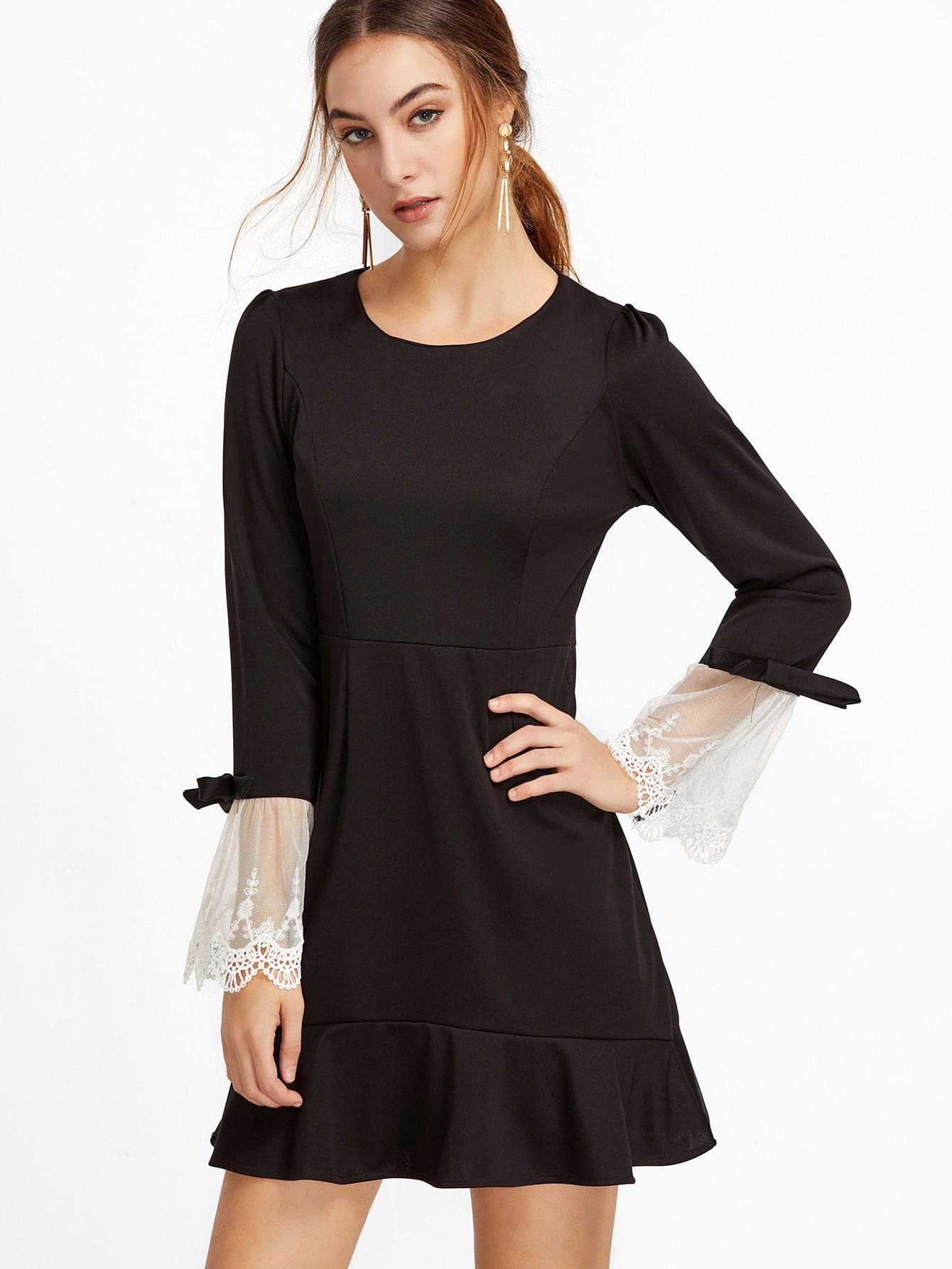 Black Contrast Lace Cuff A-Line DressBlack Contrast Lace Cuff A-Line Dress<br><br>color: Black<br>size: L,M,S,XL