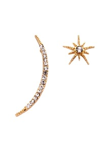 Gold Plated Star Moon Rhinestone Asymmetrical Earrings