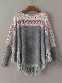 Grey Geometric Fringe Poncho Mohair Sweater