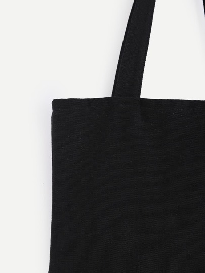 Double Layer Black Plain Canvas Tote Bag -SheIn(Sheinside)
