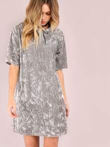 Grey Crushed Velvet Tee Dress
