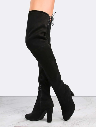 Tie Back Faux Suede Thigh Boots BLACK
