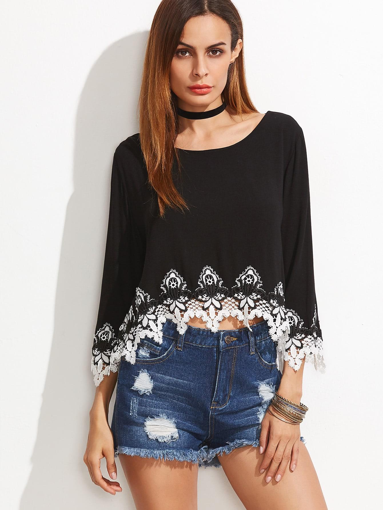 Black Contrast Crochet Trim Split Back High Low Top blouse161130450