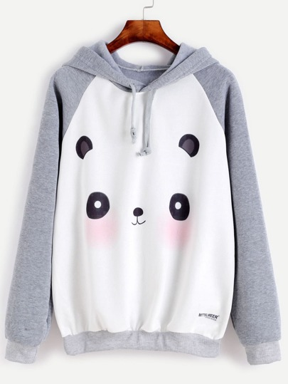 Raglan Sleeve Cartoon Panda Print Hooded Sweatshirt