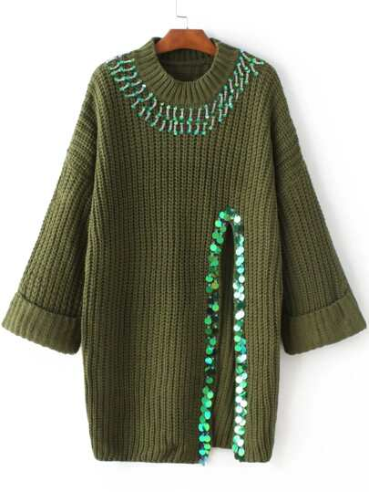 Army Green Sequin Detail Slit Sweater Dress