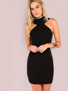 Halter Choker Neck Mini Dress BLACK