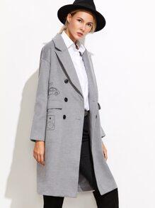 Grey Drop Shoulder Drawing Print Coat