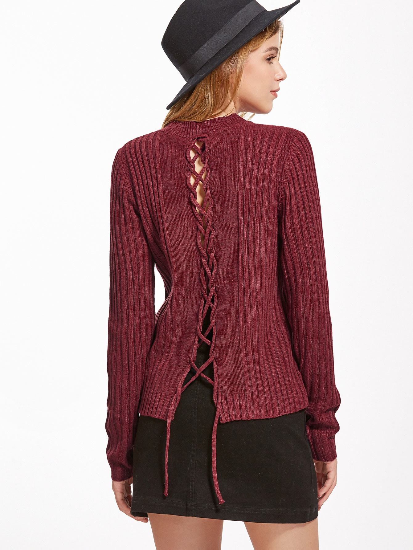 Burgundy Ribbed Lace Up Back Sweater sweater160915466