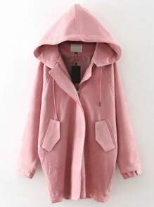 Pink Suede Hooded Coat With Pocket