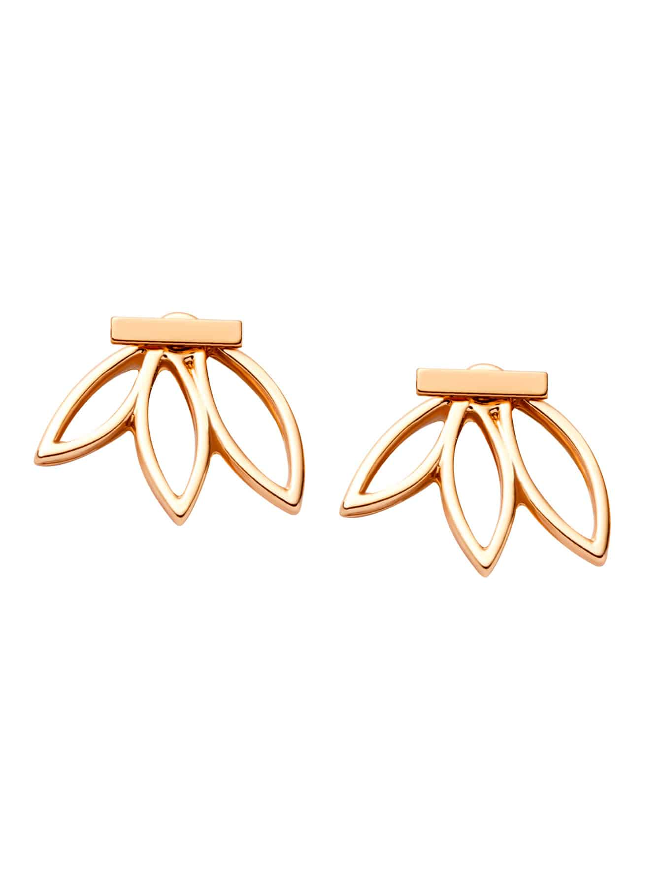 Gold Plated Lotus Flower Hollow Out Stud Earrings gold plated stone asymmetry dangle earrings
