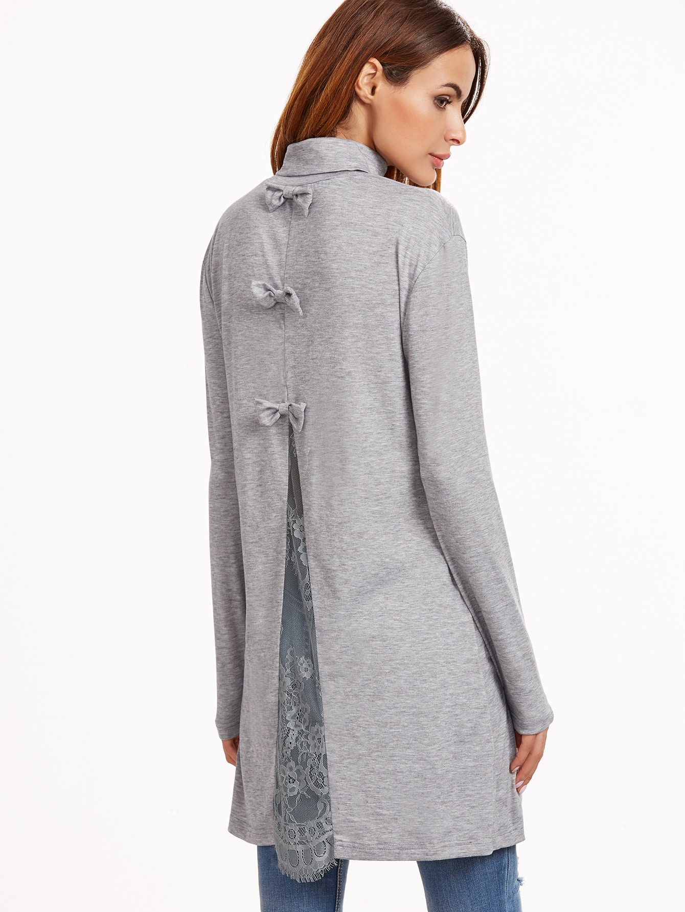 Heather Grey Bow Embellished Lace Insert Split Back T-shirtHeather Grey Bow Embellished Lace Insert Split Back T-shirt<br><br>color: Grey<br>size: L,M,S,XS