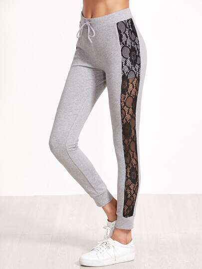 Heather Grey Contrast Lace Panel Skinny Sweatpants
