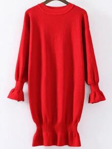 Red Ruffle Detail Ribbed Trim Knit Dress