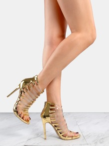 Metallic Open Toe Clear Strap Heels GOLD