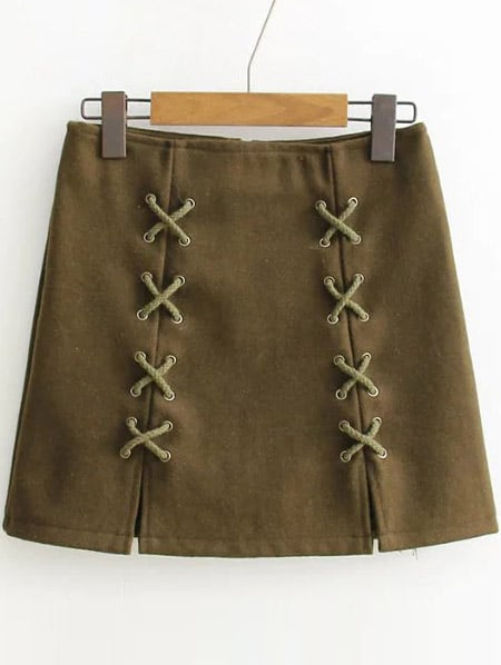 Army Green Lace Up Detail Back Zipper SkirtArmy Green Lace Up Detail Back Zipper Skirt<br><br>color: Green<br>size: L