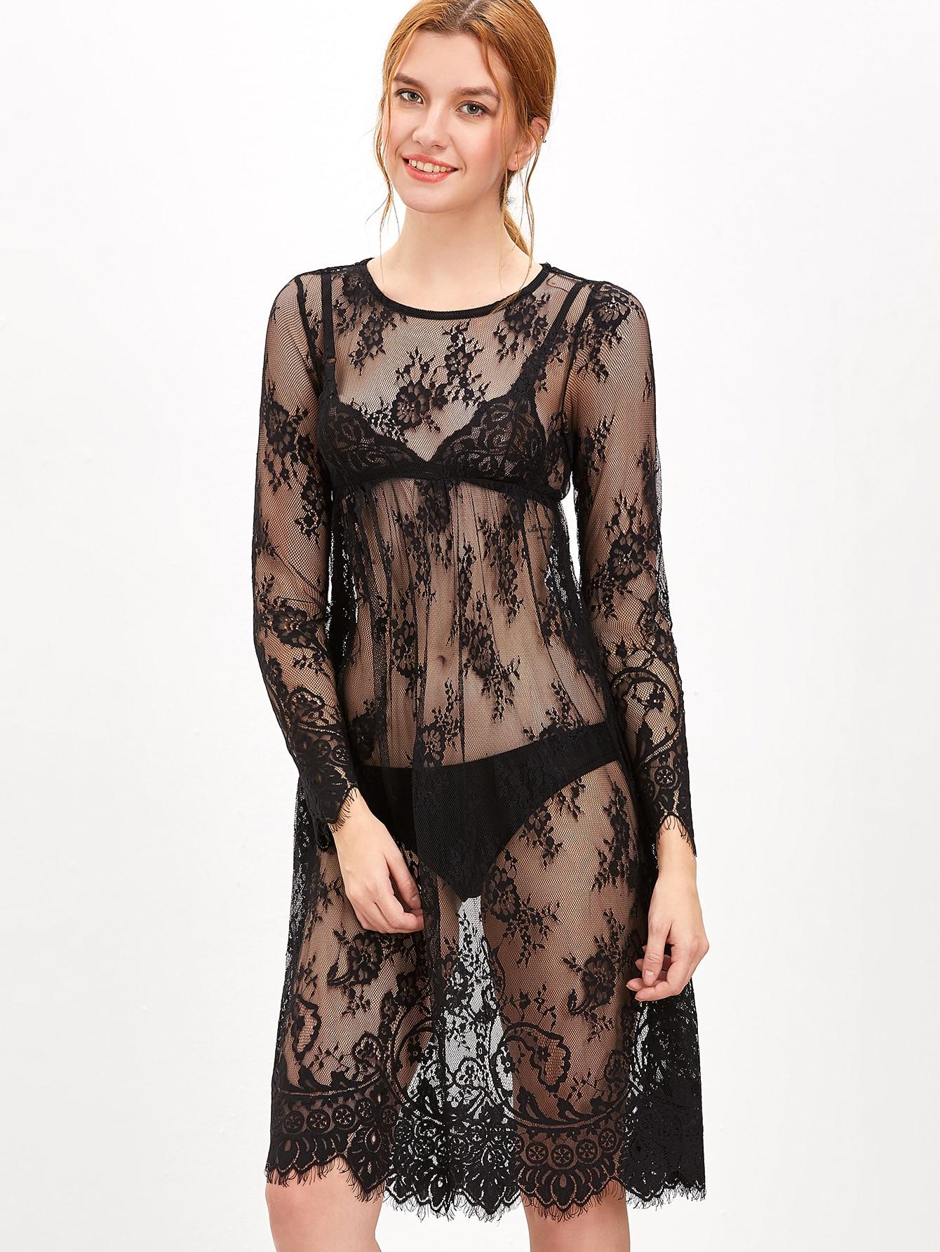 Black Sheer Floral Lace DressBlack Sheer Floral Lace Dress<br><br>color: Black<br>size: M,S,XS