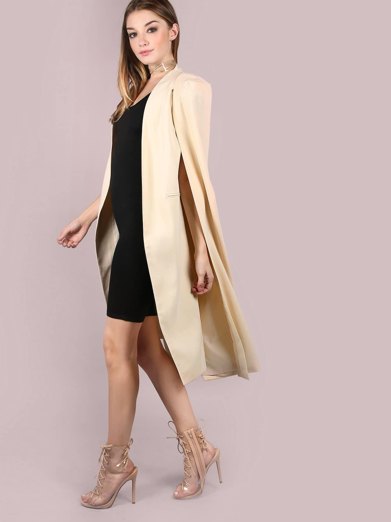 White collarless longline cape blazer