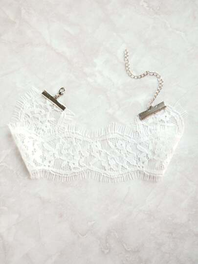 White Eyelash Lace Choker