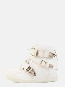 Triple Buckle Wedge Sneakers WHITE
