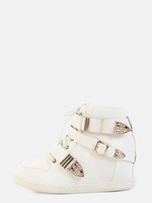 Triple Buckle Wedge Sneakers WHITE