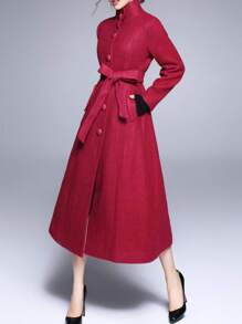 Red Collar Tie-Waist Pockets Long Coat