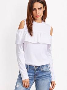 White Open Shoulder Ruffle T-shirt