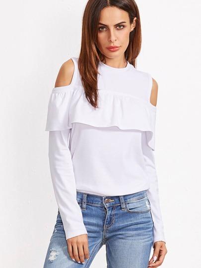 White Open Shoulder Ruffle T-shirt -SheIn(Sheinside)
