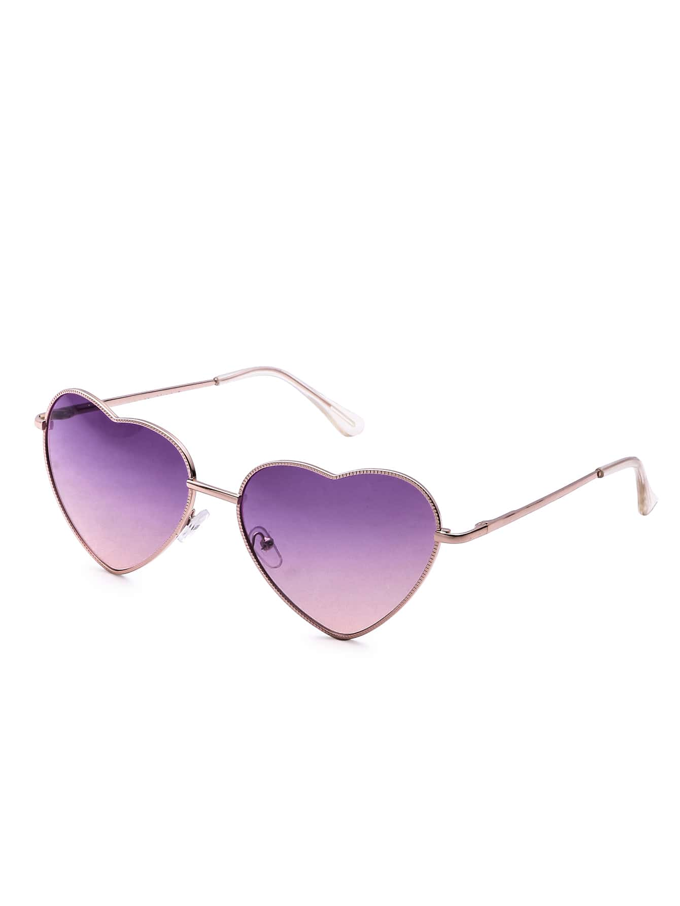 Rose Gold Frame Heart Shaped Purple Lens Sunglasses