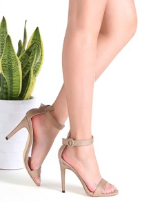 Khaki Suede Peep Toe Ankle Strap Stiletto Sandals