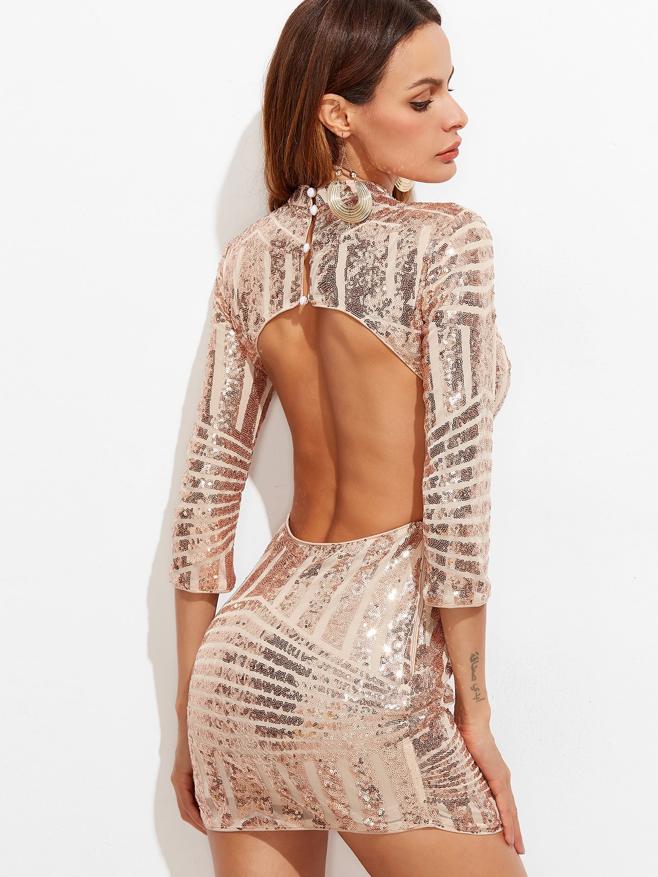 Pink Mock Neck 3/4 Sleeve Open Back Geo Sequin Dress dress161206713